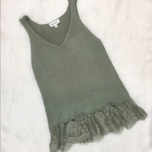 Cloud Chaser Knit Tank with Lace, Green, Small